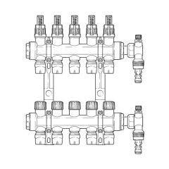 Inta Underfloor Heating Polymer Manifold Push-Fit - 5 Ports