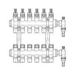 Inta Underfloor Heating Polymer Manifold Push-Fit - 6 Ports