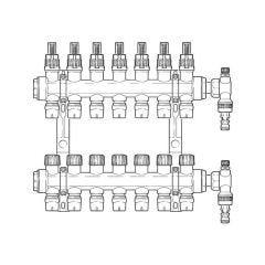 Inta Underfloor Heating Polymer Manifold Push-Fit - 7 Ports