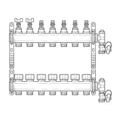 Inta Underfloor Heating S/S Manifold - 7 Ports