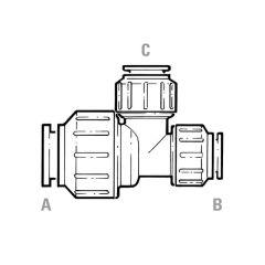 JG Speedfit Reducing Tee - 15mm x 10mm x 10mm White
