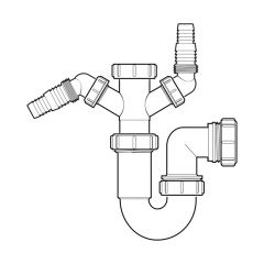 McAlpine Twin Nozzle Sink P Trap - 40mm, 75mm Seal