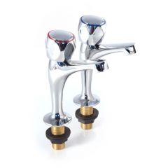 Metal Head High Neck Sink Taps, Pair - 1/2""