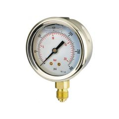 Oil Filled Pressure Gauge - 0 to 20 bar, 63mm Dial