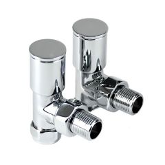 "Modern Angled Towel Warmer Valves - 15mm x 1/2"" Pair"