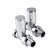 "Modern Straight Towel Warmer Valves - 15mm x 1/2"" Pair"