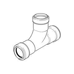 Push-fit Swept Tee - 91.1/4° x 40mm Black