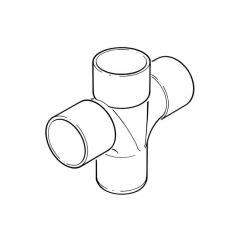 Solvent Weld Cross Tee - 92.1/2° x 50mm Grey