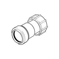 Push-fit Threaded Coupling - 40mm BSP F Grey