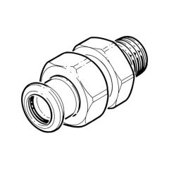 """Press-fit Water Union Connector - 22mm x 3/4"""" BSP TM"""