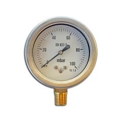 Pressure Gauge - 0 to 100 mbar, 63mm Dial