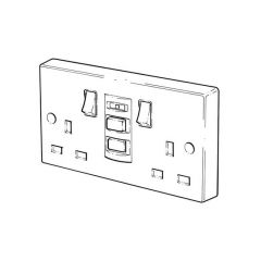 RCD Switched Twin Socket - 13A, 2 Gang