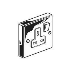 Switched Single Socket Outlet - Single Pole, Chrome