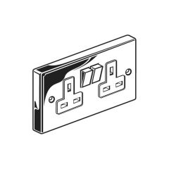 Switched Twin Socket Outlet - Single Pole, Chrome