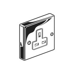 Unswitched Single Socket Outlet - 13A, Chrome