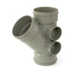 Solvent Weld Triple Socket Branch - 135° x 110mm Olive Grey