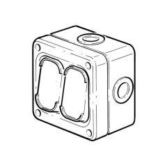 IP66 Rated Socket - 10A , 1 Gang, 2 Way