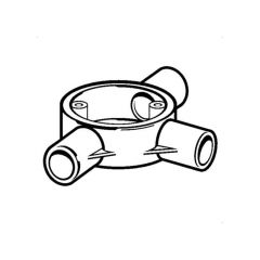 PVC Conduit Round 3 Way Tee Box - 20mm
