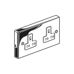 Unswitched Twin Socket Outlet - 13A, Chrome