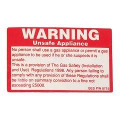 Unsafe Appliance Sticker