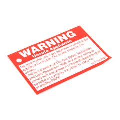 Unsafe Appliance Tie-On Label