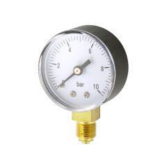 """Water & Air Pressure Gauge 0 to 10 bar, 1/4"""" Bottom"""