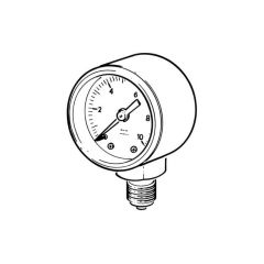 "Water & Air Pressure Gauge 0 to 10 bar, 1/4"" Bottom"