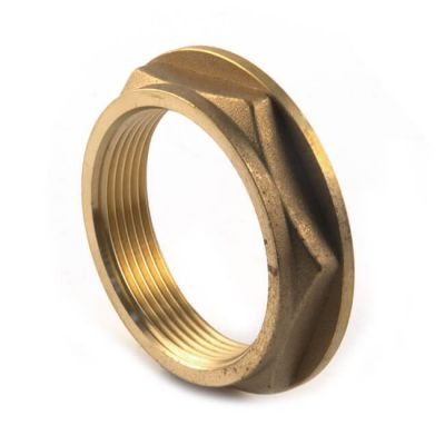 "Brass Threaded Flanged Hexagon Backnut - 1.1/2"""