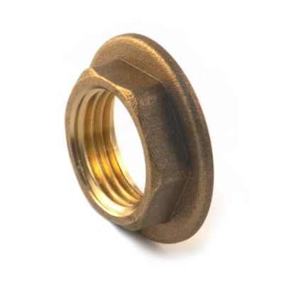 "Brass Threaded Flanged Hexagon Backnut - 1/2"""