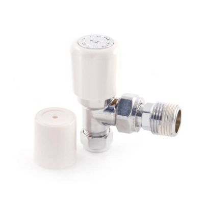 Angled Radiator Valve - 10mm with 15mm Tailpiece