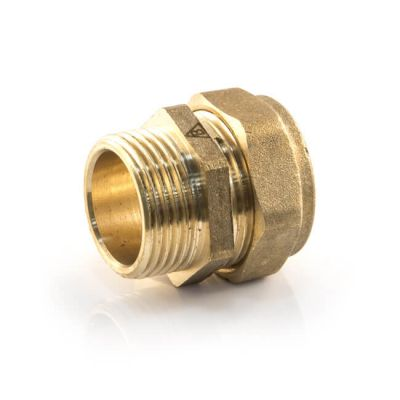"DZR Compression Straight Adaptor 15mm x 1/2"" BSP PM"