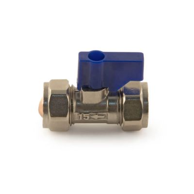 Lever Operated Isolating Valve Blue Handle 15mm Chrome