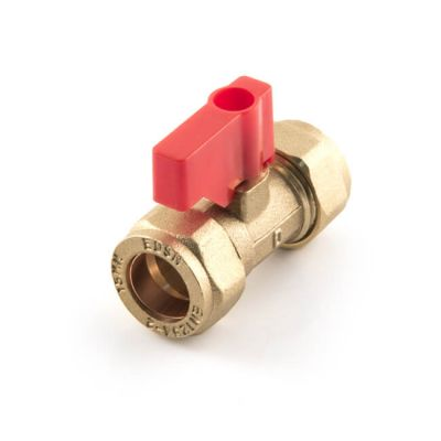 Lever Operated Isolating Valve Red Handle 15mm Brass