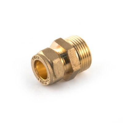 """Solar Pipe Coupler 22mm Comp. x 3/4"""" M for DN16 Pipe"""