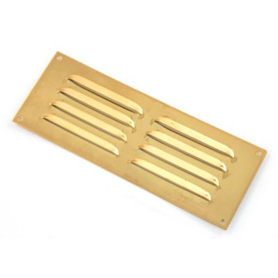 Louvred Ventilator - 241mm x 89mm, Polished Brass