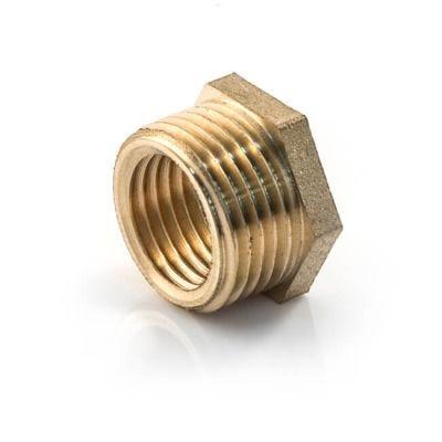 """Brass Threaded Hexagon Bush 3/8"""" BSP PM x 1/4"""" BSP PF"""
