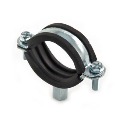 Rubber Lined Mild Steel Zinc Plated Clip - 38 to 43mm