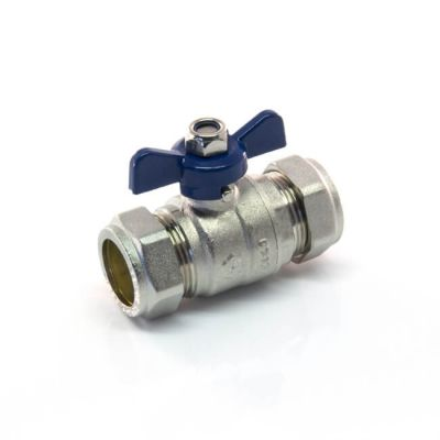Ball Valve - 22mm Compression - Blue Butterfly Handle