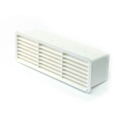 Horizontal Louvred Airbrick & Damper 200 x 56mm White