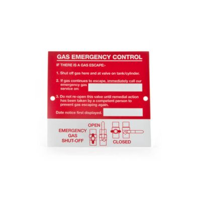 Emergency Control Plaque - Height 110  x Width 116mm