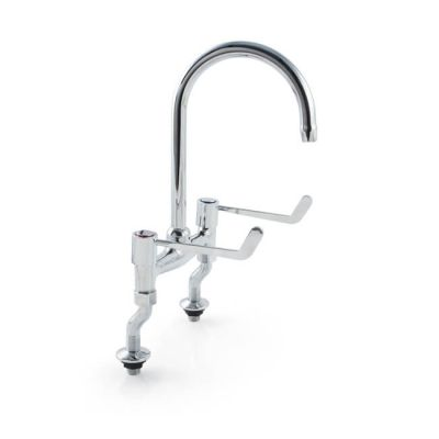 "'H' Sink Mixer Tap 6"" Lever Handles - Chrome"
