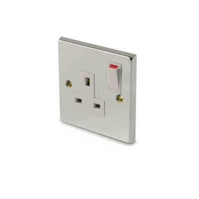 Switched Single Socket Outlet - Single Pole, Chrome