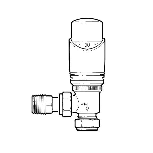 Drayton TRV4 Classic, Angled TRV - 15mm