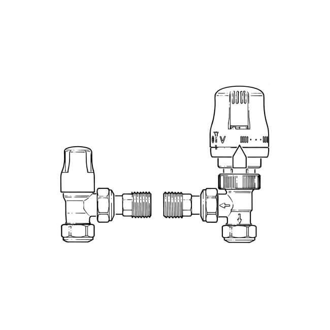 Ecocal Angled TRV Twin Pack - 10mm Chrome/White