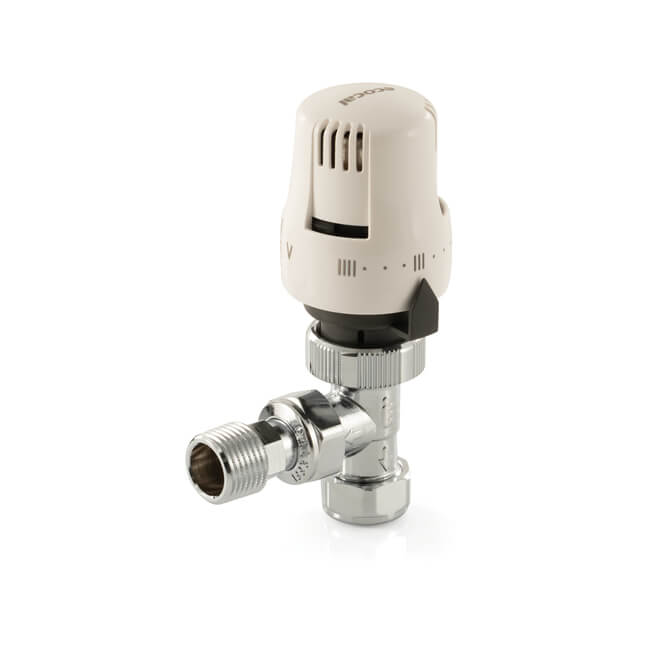 Ecocal Angled Thermostatic Radiator Valve - 8/15mm