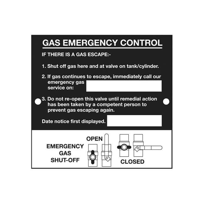 Emergency Control Plaque - Height 110  x Width 116mm