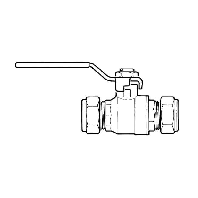 Gas Ball Valve - 54mm Compression Yellow Lever Handle