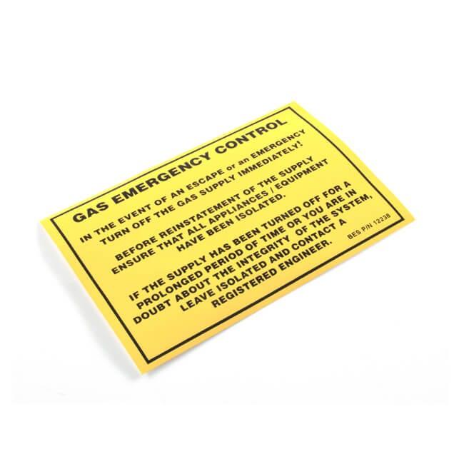 Gas Emergency Control Label
