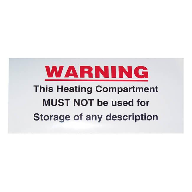 Heater Compartment Sticker