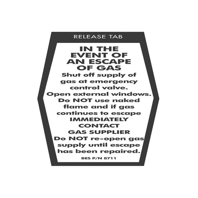 In Event of An Escape of Gas Sticker Coffin Shaped